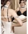 White Pattern Fashion Underbust Corset