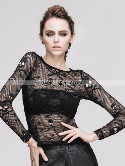 Devil Fashion Black Skeleton Net Tight T-shirt for Women