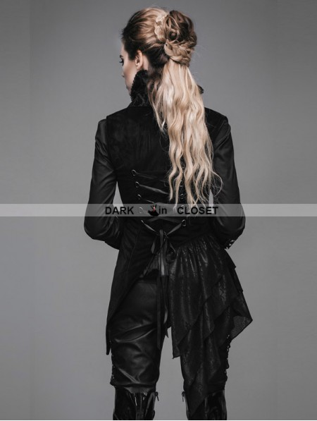 Devil Fashion Black Swallow Tail Gothic Waistcoat For