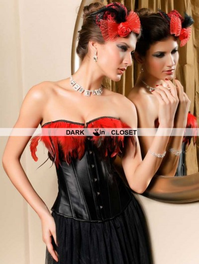 Black Feather Burlesque Overbust Corset
