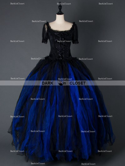 Black and Blue Gothic Corset Long Prom Gown