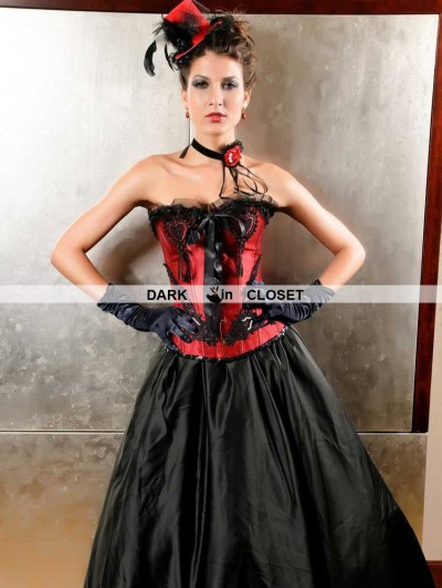 Red and Black Lace Applique Fashion Gothic Overbust Corset