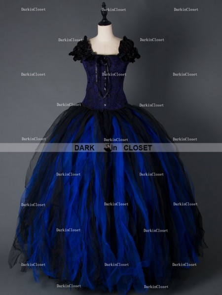 black and blue gothic corset long prom party dress