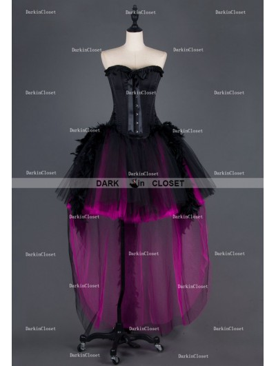 Black and Fuchsia Feather Gothic Burlesque Corset High-Low Prom Party Dress