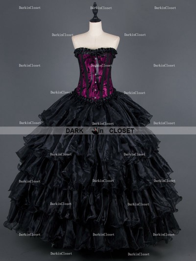 Black and Purple Gothic Corset Long Layers Prom Party Dress