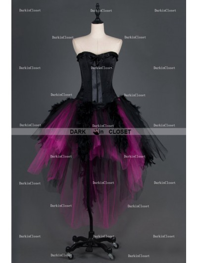 Black and Fuchsia Feather Gothic Burlesque Corset Irregular Prom Party Dress
