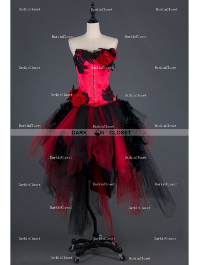 Black and Red Rose Feather Gothic Burlesque Corset Irregular Prom Party Dress