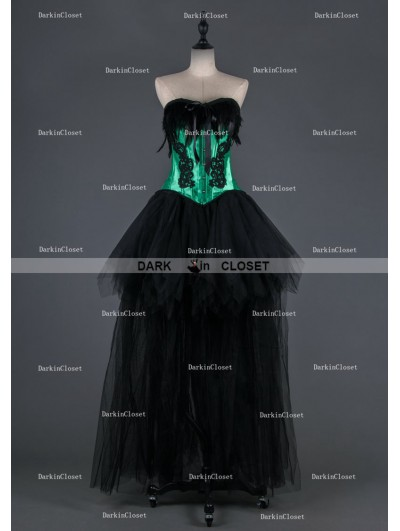 Black and Green Feather Gothic Burlesque Corset High-Low Prom Party Dress