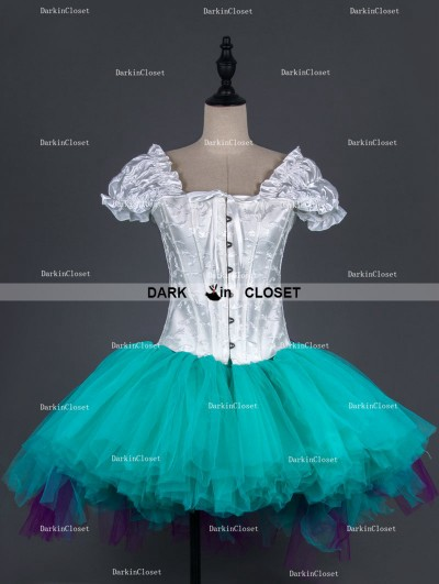 White Cap Sleeves Gothic Burlesque Corset Short Party Dress