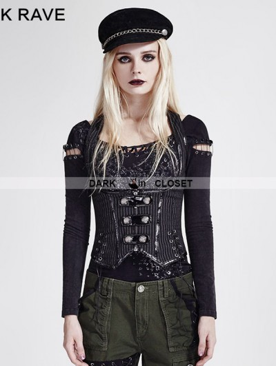 Punk Rave Black Stripe Gothic Military Uniform Vest for Women