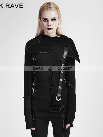 Punk Rave Black Gothic Hooded Stitching Knitted Sweater for Women