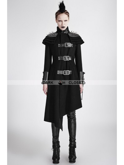 Punk Rave Black Gothic Asymmetric Woolen Military Jacket for Women