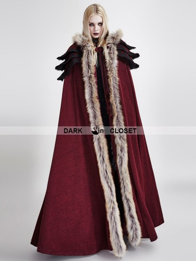 Punk Rave Red Gothic Wool Collar Long Cloak for Women
