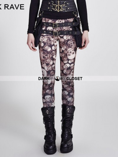 Punk Rave Gothic Coffee Skull Pattern Legging for Women