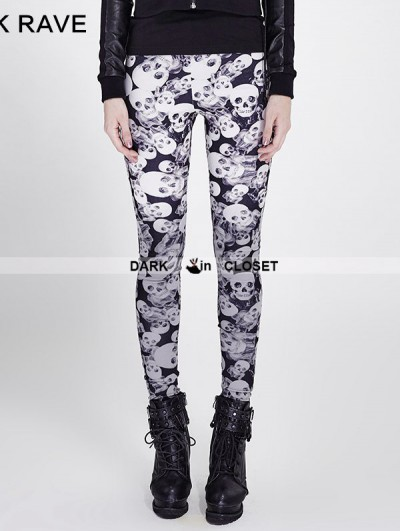 Punk Rave Gothic Black Skull Pattern Legging for Women