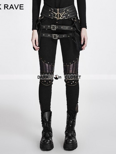 Punk Rave Black Steampunk PU Leather Stitching Trousers for Women