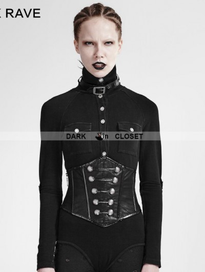 Punk Rave Black Gothic Military Uniform Girdle