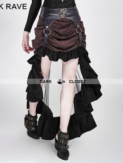 Punk Rave Brown Irregular Steampunk Skirt