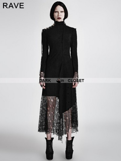 Punk Rave Black Gothic Asymmetric Punk Mesh Stitching Dress