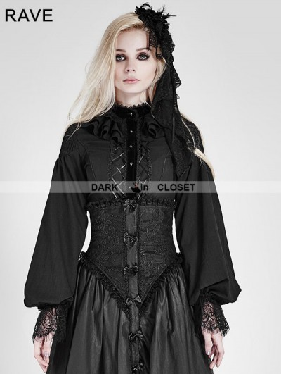 Punk Rave Black Gothic Palace Style Chiffon Blouse for Women