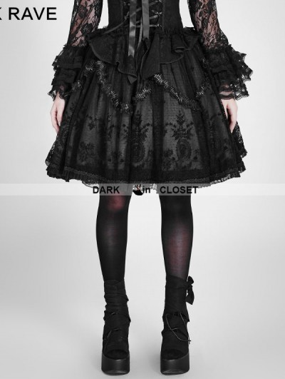 Punk Rave Black Gothic Lolita Palace Style Short Skirt