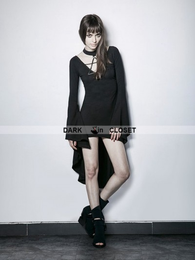 Punk Rave Black Gothic Irregular Short Sexy Dress