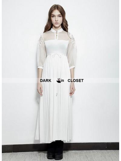 Punk Rave White Vintage Gothic Palace Style Long Dress