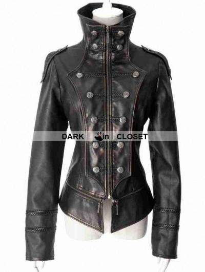 Punk Rave Black Leather Gothic Tuxedo Style Military Jacket for Men