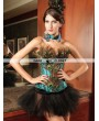 Green Peacock Feather Fashion Overbust Corset