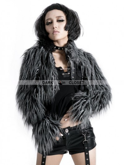 Punk Rave Gothic Punk Long-Furry Ultra-Short Jacket for Women