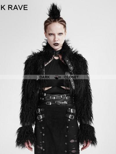 Punk Rave Black Gothic Punk Long-Furry Ultra-Short Jacket for Women