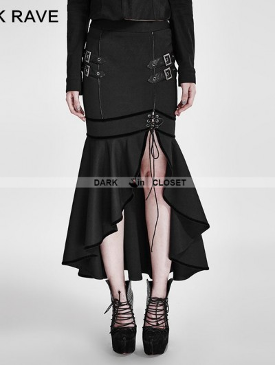 Punk Rave Black Gothic Military Uniform Half Skirt