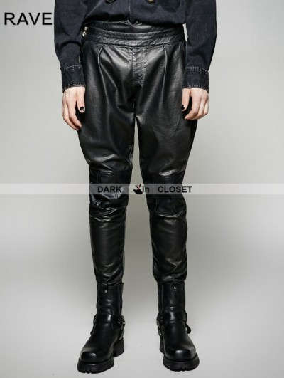Punk Rave Black Gothic Military Uniform PU Leather Pants for Men