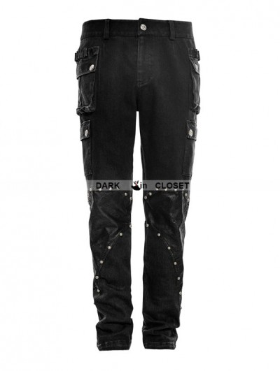 Punk Rave Black Gothic Military Uniform Rivet Trouser for Men
