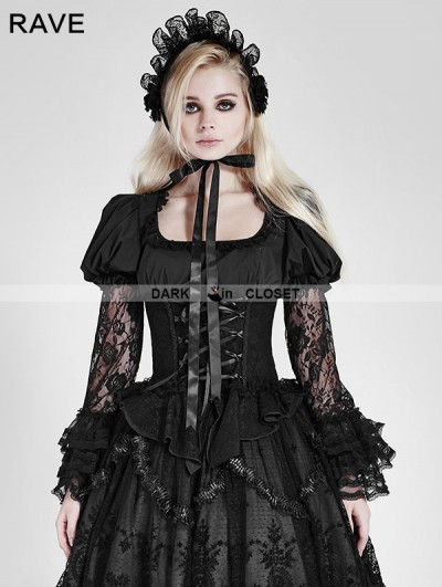 Punk Rave Black Gothic Lolita Lace Long Sleeves Shirt for Women