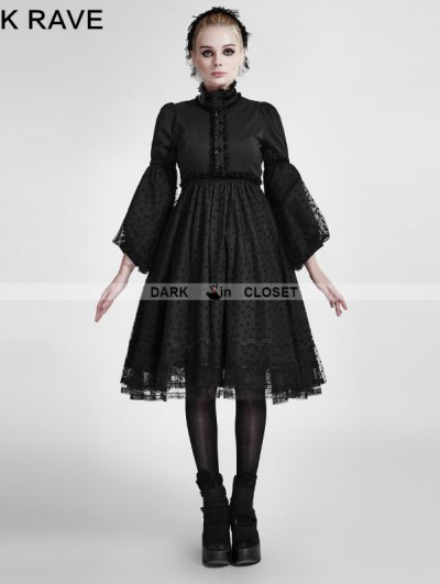 Punk Rave Black Gothic Lolita Puff Sleeves Dress