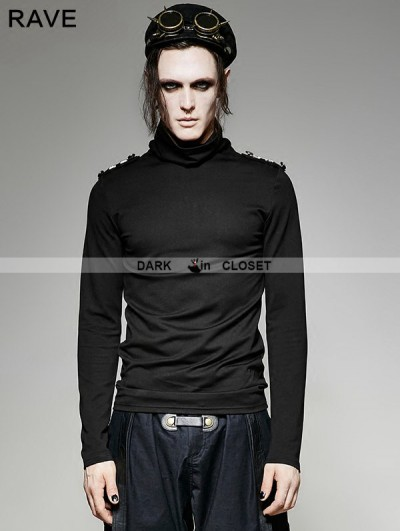Punk Rave Black Gothic Military Uniform Long Sleeves Shirt for Men
