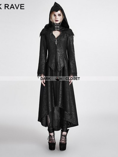 Punk Rave Black Gothic Dark Angle Long Hooded Coat for Women