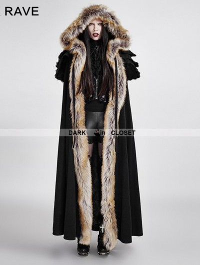 Punk Rave Black Gothic Wool Collar Long Cloak for Women