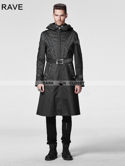 Punk Rave Black Gothic Men Coat with Hoody