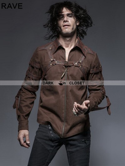 Punk Rave Brown Steampunk Long Sleeves Belt Blouse for Men