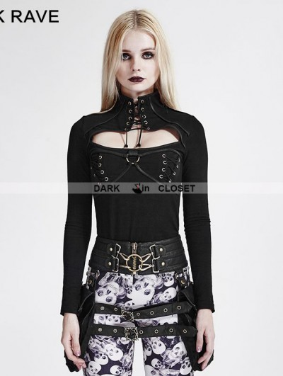 Punk Rave Black High Collar Steampunk T-Shirt for Women