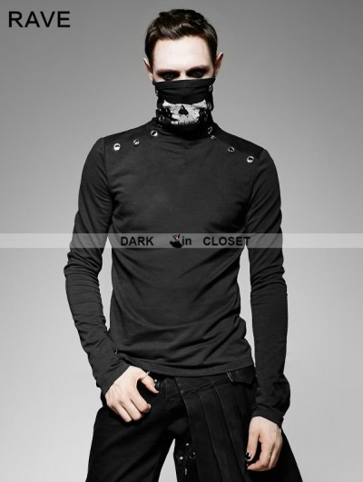 Punk Rave Black Gothic Heavy Punk High-Necked Printing T-Shirt for Men