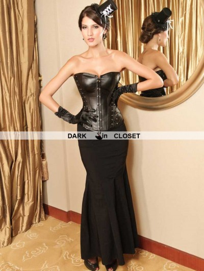 Black Leather Gothic Overbust Corset