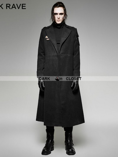 Punk Rave Black Gothic Military Uniform Woolen Coat for Men