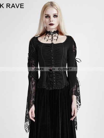 Punk Rave Black Gothic Band Lace T-Shirt for Women