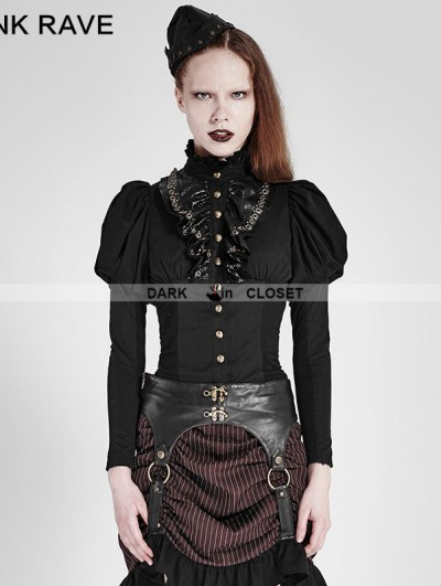 Punk Rave Red Steampunk Corset Long Shirt for Women