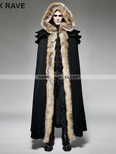 Punk Rave Black Gothic Wool Collar Long Cloak for Men