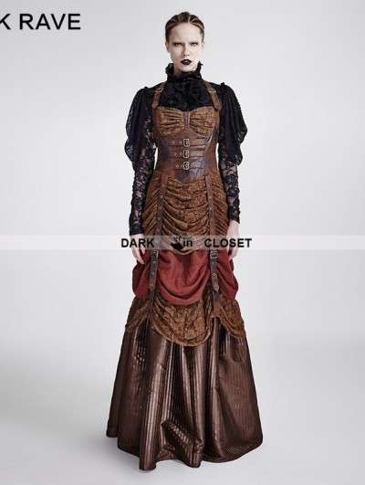 Punk Rave Brown Steampunk Hanging Neck Long Dress