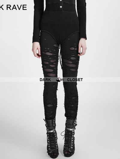 Punk Rave Black Gothic Broken Mesh Leggings